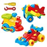 Product Image of the Take Apart Toys Set - Airplane Toy - Train Toy - Racing Car Toy, For Kids - Stem...