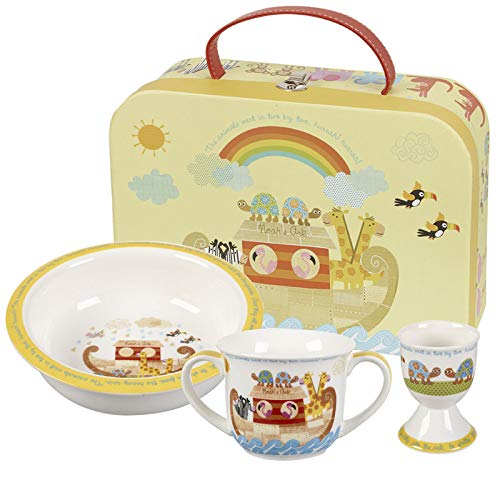 Queens Little Rhymes Noah's ARK - Juego de 3 tazas para huevos (porcelana fina, 20 x 20 x 6,5 cm)