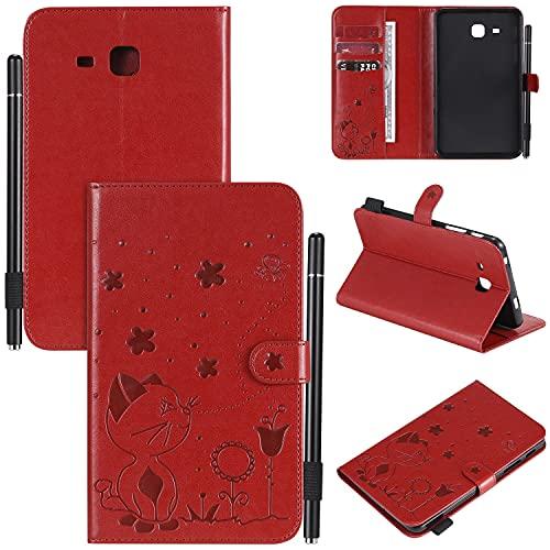 Funda de piel para Tablet PC For Samsung Galaxy Tab A 7.0 2016 T280 T285 Caja de la tableta Hebilla magnética Flip Cover Stand de plegable Estuche a prueba de golpes Estuche Durable ( Color : Red )