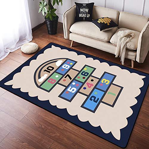 Alfombra Infantil Habitación Juegos Rayuela Beige Azul No-tóxico Niños Alfombrilla para bebés,alfombra para sala de estar,tamaños: 150×170CM
