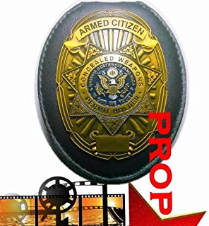 Fleetsharp - Armed Citizen Movie Prop Badge pin Back with Leather Holder, Belt Clip, Neck Chain, Card