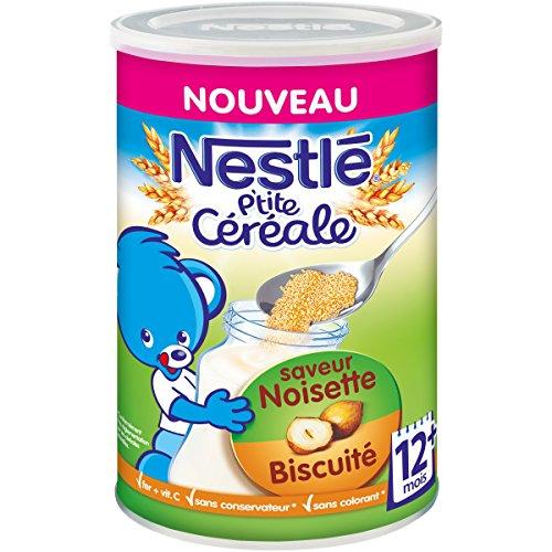 Nestlé Bébé P'tite Céréale Saveur Noisette Biscuité - Céréales déshydratées dès 12 mois - Boîte de 400g