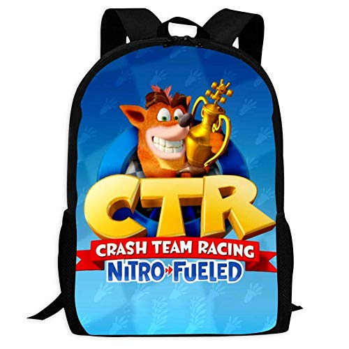 Kid's Crash Team Racing Nitro Fueled Travel Outdoor Sac à Dos Backpack Durable Multi-Function School Bag Purse Bookbag