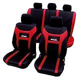 WOLTU AS7259 Cubiertas universales para Fundas de Asiento de automóvil Funda de Asiento para automóvil, Super Speed, Negro-Rojo