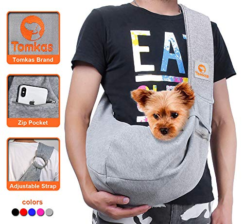 TOMKAS Small Dog Cat Carrier Sling Hands Free Pet Puppy Outdoor Travel Bag Tote Reversible(Grey - Adjustable Strap for 3-10 lbs)