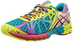 Colorful running shoes - this is the ASICS Women's GEL-Noosa Tri 9 running shoe, and it comes in multiple color combinations.