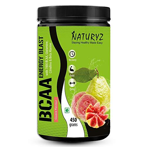 Naturyz Instantized BCAA Energy Blast with 7000 BCAA, Glutamine, Citrulline & Beta Alanine (Guava Flavor) - 450Gms