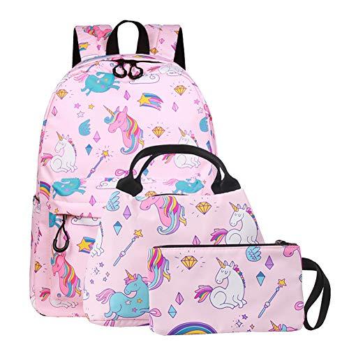 SEDEX Unicornio mochila ligera impermeable escuela preescolar bolsa de viaje con bolsa de almuerzo para estudiantes niñas niños, rosa (Rosa) - JJ-67-PK-SET HC