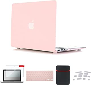 Se7enline MacBook Air Case Light Weight Snap-On Plastic Hard Frosted Cover for MacBook Air 13 in A1369/A1466, with Soft Sleeve Bag and Silicone Keyboard Skin, Screen Protector, Dust Plug, Rose Quartz