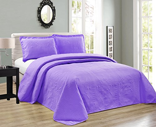 Mk Collection 2pc Twin/Twin Extra Long Oversize Luxurious Embossed Coverlet Bedspread Set Solid Lavender New