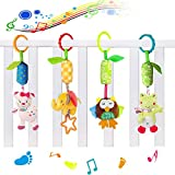 BUTEFO 4 Packs Baby Pram Pushchair Stroller Toys, Infant Bed Cot Crib Attachments, Cartoon Animal Hanging Rattle Toddler Toys, Soft Flock Fabric, with Ringing Bell Build-in BB device