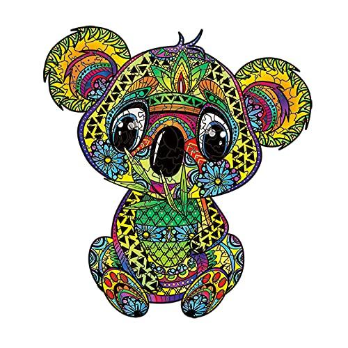 Cuteefun Puzzle in Legno per Adulti Puzzle Animale di Forma Unica Koala Carino Puzzle da 215 Pezzi per Regalo Famiglia