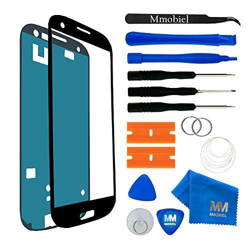 MMOBIEL Front Glas kompatibel mit Samsung Galaxy S3 i9300 / S3 Neo i9301 (Schwarz) Display mit Werkzeug-Set