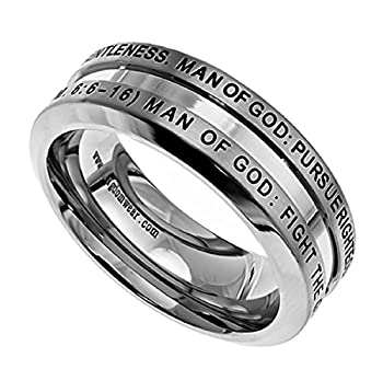 Spirit & Truth Solid Stainless Steel Christian Man of God Ring 1 Timothy 6 6-16 Guy s Purity Ring with Comfort Fit Interior Strong Masculine Appearance  8