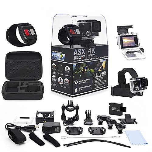 ActionPro 4K Touch Screen WiFi Sports Camera with Wireless Wrist Remote and Headstrap - Touch Screen and Wireless Wrist Remote - 4K Ultra HD - Waterproof - Wide Angle Lens - 20 Accessories Incl