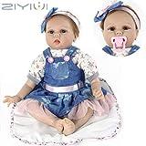 ZIYIUI Realiste 55cm Poupée Reborn Bébé Fille Poupons de Silicone Poupee Reborn Babys Dolls Bouche magnétique Enfants Cadeaux Jouet 22 Pouce