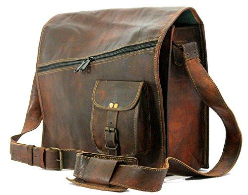 "Handmade World Vintage Brown 15"" Leather Messenger Bag for Men Women Mens Briefcase Laptop Best Computer Satchel Bags"