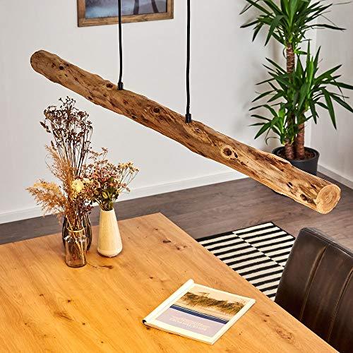 LED Pendelleuchte Winterthur, dimmbare Hängelampe aus Metall/Holz in Schwarz/Natur, Holzbalken höhenverstellbar auf max. 150 cm, 20 Watt, 1358 Lumen, 3000 Kelvin, dimmbar o. Zubehör über Lichtschalter