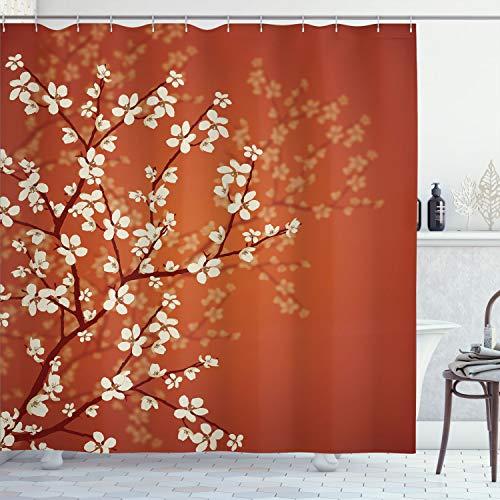 Ambesonne Japanese Shower Curtain, Spring Season Sakura Bloom Design Marine Toned Ombre Color Background, Cloth Fabric Bathroom Decor Set with Hooks, 70' Long, Burnt Orange
