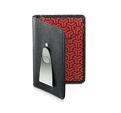 Dalvey kaviaar leer & rode geometrische continentale portemonnee met geld Clip