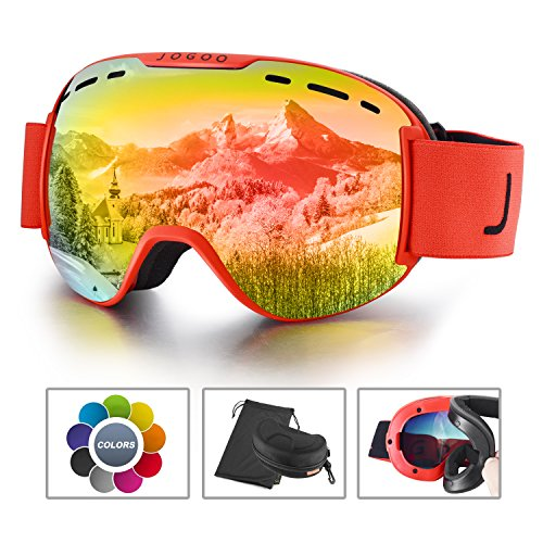 Jogoo Snowboard, Ski Goggles, Snowmobile, Lens Interchangeable Magnetic Detachable