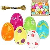 CINVEED Set di 22 Uova di Plastica da Riempire di Dolcetti Pasquali Colorate con Filo Oro Ricamo e Carta Rafia sminuzzata per Regalo di Pasqua in Articoli per Feste per Bambini