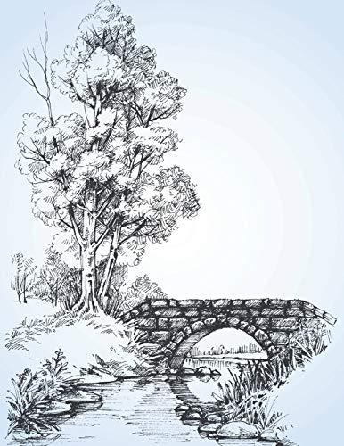 Sketchbook: Large sketchbook, Bridge over river cover, 120 pages, 8.5 by 11