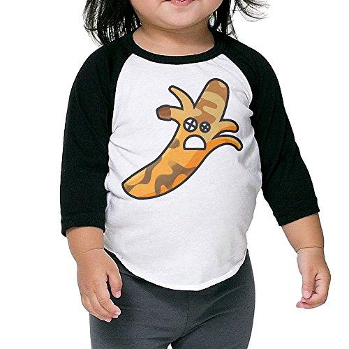 LKK Children Banana Alien 3/4 Sleeve Raglan Tshirt Black 3 Toddler