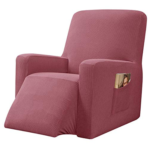 CHUN YI Stretch Recliner Chair Slipcovers Sofa Covers Armchair Coat Furniture Protector with Elastic Bottom Side Pocket, Checks Spandex Jacquard Fabric(24',Coral Pink)
