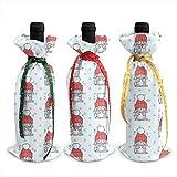 Juego de 3 fundas para botella de vino, diseño de conejo, color rojo, para Navidad, bodas, vacaciones