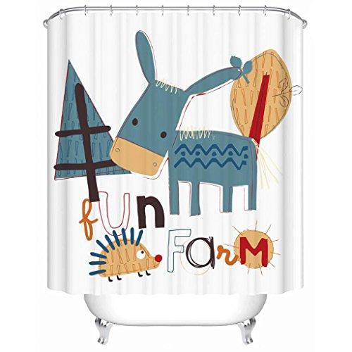 JIY-Duschvorhang Karikatur-Esel-Muster-dickere wasserdichte & Schimmel-Badezimmer-Gardinen Badezimmer-Zusätze kreative Duschvorhänge (Size : 200 * 180cm)