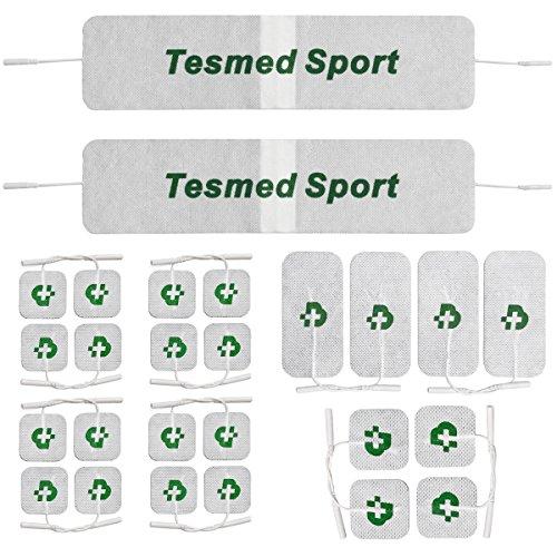 26 electrodos TESMED TOP EQUIPMENT, la mejor gama para obtener los mejores resultados: 20 electrodos 50 x 50 + 4 electrodos 50 x 100 + 2 bandas gigantes Tesmed Sport