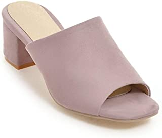Cosplay-X Women Open Toe Mule Slippers Shoes Mid Chunky Heel Slip On Slide Dress Summer Sandals