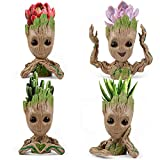 IKAYAS 4 Pack Treeman Baby Groot Flower Pot Groot Succulent Planter Pot Cute Green Plants Flower Pot Pen Pencil Holder, Great Birthday Gift Graduation Gift for Her Him 4 Styles (Plants Not Included)