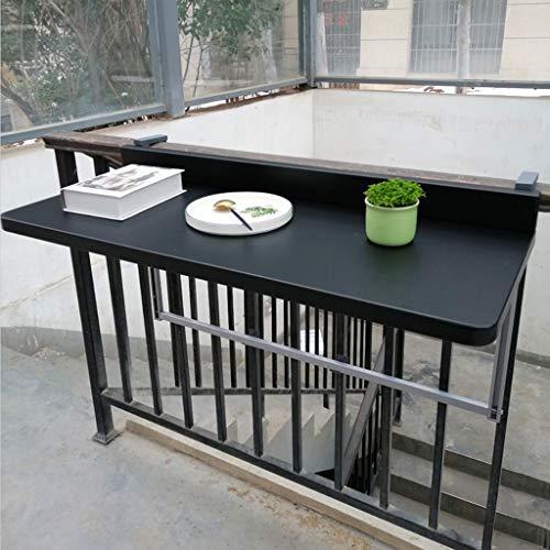 WENJUN Inklapbare wandhouder voor de tuin, balkonleuning, hoogte verstelbaar, wandbevestiging, bureau, vrije tijd, tafel (kleur: zwart, afmetingen: 120 x 40 cm)