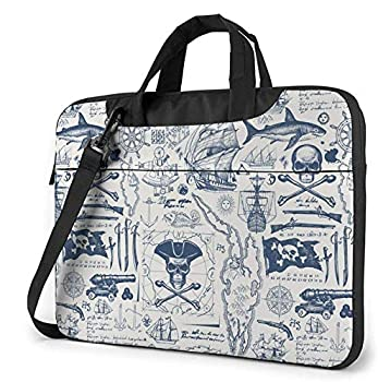 Vintage Pirate Nautical Map Crossbody Bag Briefcase 13 Inch Multi-Functional Notebook Sleeve Carrying Case with Strap & Trolley Belt for Lenovo Acer Dell Lenovo Hp Samsung Ultrabook Chromebook
