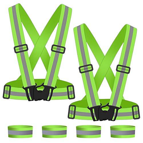 URAQT Reflektorweste, 2 PCS Reflektierende Warnweste, Reflektierende Weste Reflexstreifen-Einstellbar leicht und elastisch, mit 4 PCS Reflexstreifen für Laufen, Joggen, Radfahren, Wandern