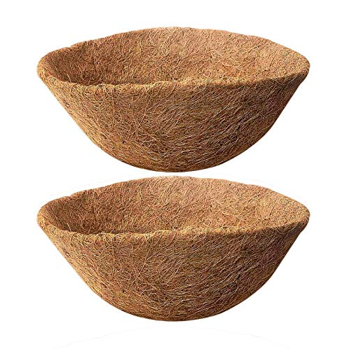 UERMEI 2 forros de coco de 35,5 cm – Forro de cesta colgante para macetas | Repuesto de fibra de coco para pared | Forro de fibra de coco natural para flores, macetas de jardín, verduras