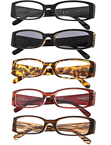 5-Pack Ladies Reading Glasses Includes Sunshine Readers for Women +1.75