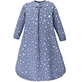 Hudson Baby Unisex Baby Premium Quilted Long Sleeve Sleeping Bag and Wearable Blanket, Blue Silver Star, 6-12 Months