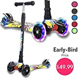 Kick Scooter for Kids, Todder Scooter with 3 Lights Up Wheels, Lean to Steer, 4 Adjustable Height, Training Balance Toys for Children 2, 3, 4, 5-13 Year Old, for Child