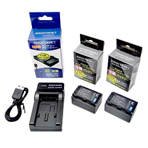 SIXOCTAVE VW-VBT190-K 互換バッテリー 2個 & USBチャージャー VW-BC10-K のセット パナソニック HC-V210M HC-V230M HC-V360M HC-V620M HC-V720M HC-V750M HC-VX980M HC-W570M HC-W580M HC-W850M HC-W870M HC-WX970M HC-WX990M HC-WXF990M 等