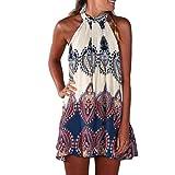 Elecenty Damen Knielang Sommerkleid Rock Chiffon Mädchen Lose Kleider Frauen Mode Langarm Kleid Minikleid Blumen Kleidung Abendkleider Partykleid Hemdkleid Blusekleid (XL, Weiß)