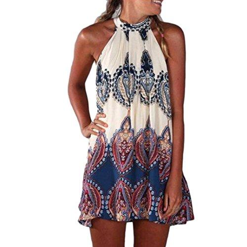 Elecenty Damen Knielang Sommerkleid Rock Chiffon Mädchen Lose Kleider Frauen Mode Langarm Kleid Minikleid Blumen Kleidung Abendkleider Partykleid Hemdkleid Blusekleid (L, Weiß)