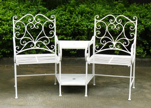Charles Bentley Heart-Shaped Wrought Iron Companion Seat Love Seat - Fully Assembled 2 Seater in White