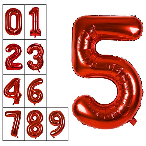40 Inch Jumbo Red Number 5 Balloon Giant Balloons Prom Balloons Helium Foil Mylar Huge Number Balloons for Birthday Party Decorations/Wedding/Anniversary