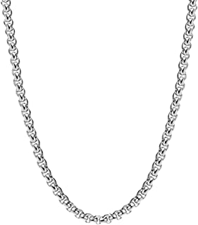 W WOOGGE Box Link Chain Necklace Choker - Silver/Gold/Black/Stainless Steel - Dainty/Chunky Necklace for Women Men Boys Girls