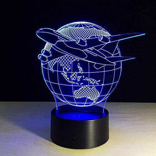 3D nachtlampje, nachtlampje, illusie, verlichting, slaapkamer, vliegtuig, schakelaar, vliegen aarde, kleine sfeer, cadeau, nieuw, Halloween, vakantiegeschenk op