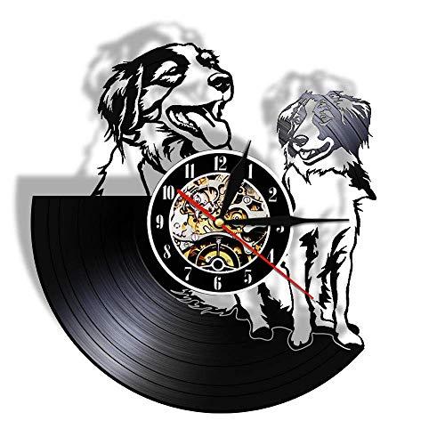 Jiedoud Kooikerhondje Wanduhr Benutzerdefinierter Hundename Vinyl Schallplattenuhr Nederlands Hunderasse Personalisierte kleine Cager Dog Kooiker UhrohneLED