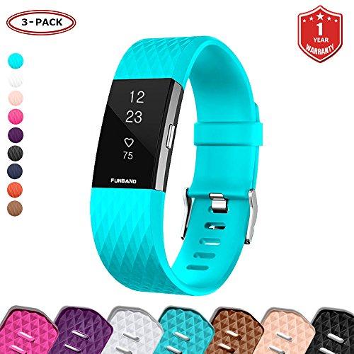 FunBand® für Fitbit Charge 2 Armband,Klassisch Verstellbares Ersatz weiches Silikon Sporty Wrist Strap Band Armbanduhr Uhrenarmband Schlaufe Armbänder für Fitbit Charge 2 Smartwatch (Small & Large)